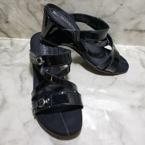 Mephisto wedge black sandals 36 (6 )